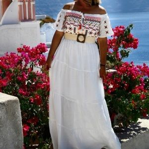 Embroidery maxi  white dress